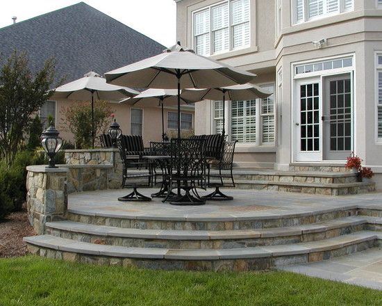 curved deck/patio without railing | Cabin Deck Ideas ... on Curved Patio Ideas id=44042