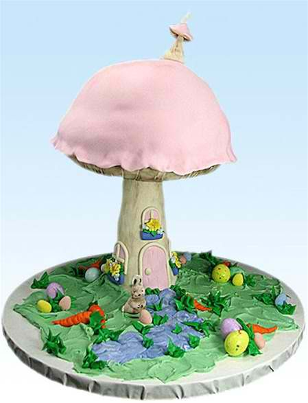 """""""Toadstool Treat"""" Mushroom House Cake by Susan Carberry - What a wonderful fantasy cake! Susan decorated this as an Easter cake, but it could be modified for so many occasions!  Imagine the wonder and surprise when this cake makes an appearance! And don't think it's too hard to make - Susan's step-by-step video instructions takes the difficulty level down several notches!"""