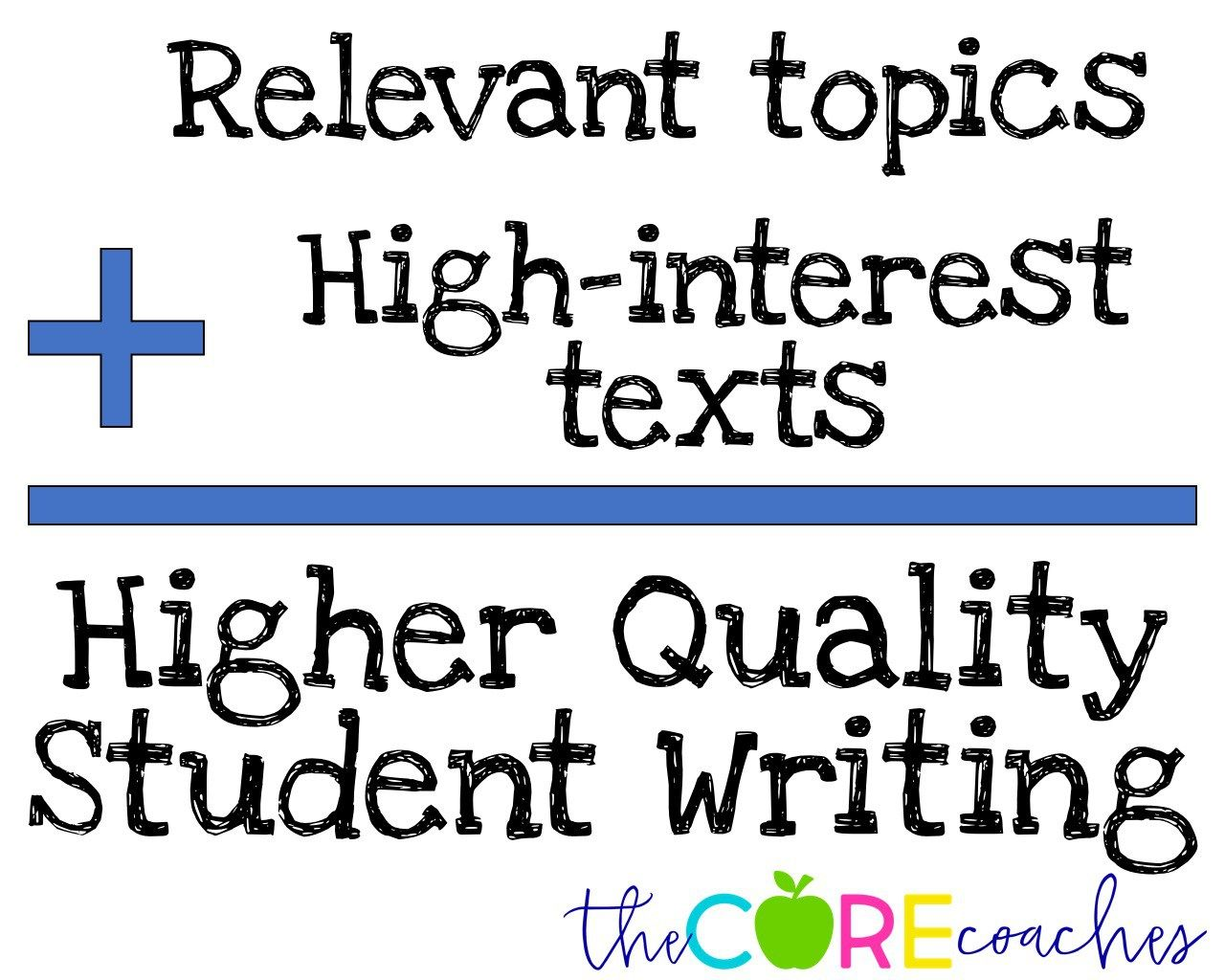 Relevant topics and high interest texts produce higher quality writing