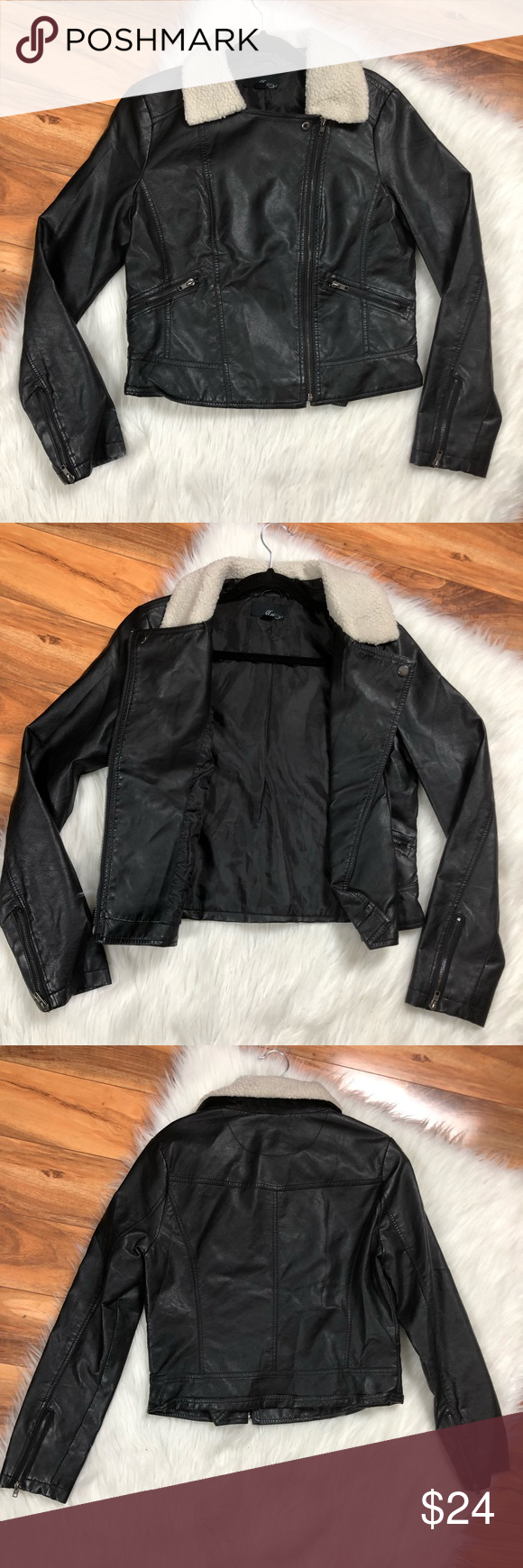 Womens Faux Leather Moto Jacket Sherpa Collar Zip (With