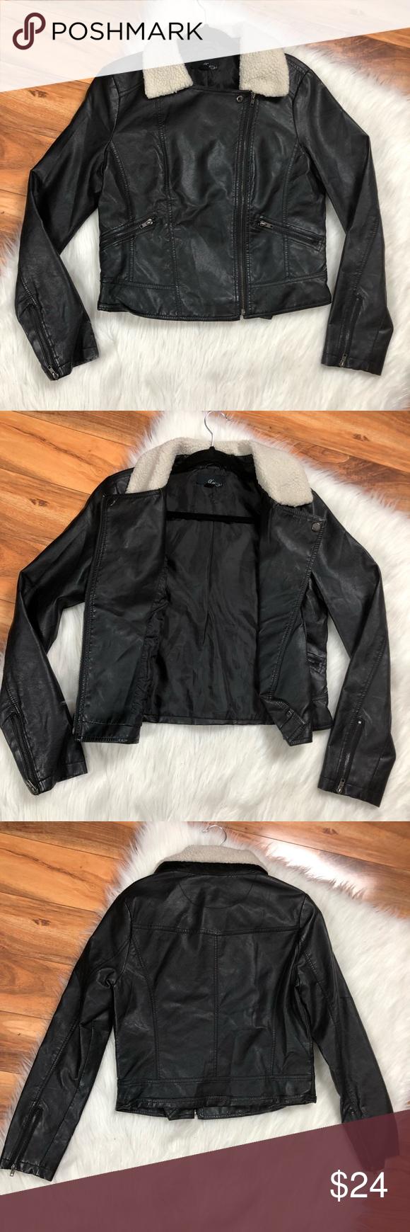 LongLine BrushedFelt SherpaCollar Moto Jacket for Women