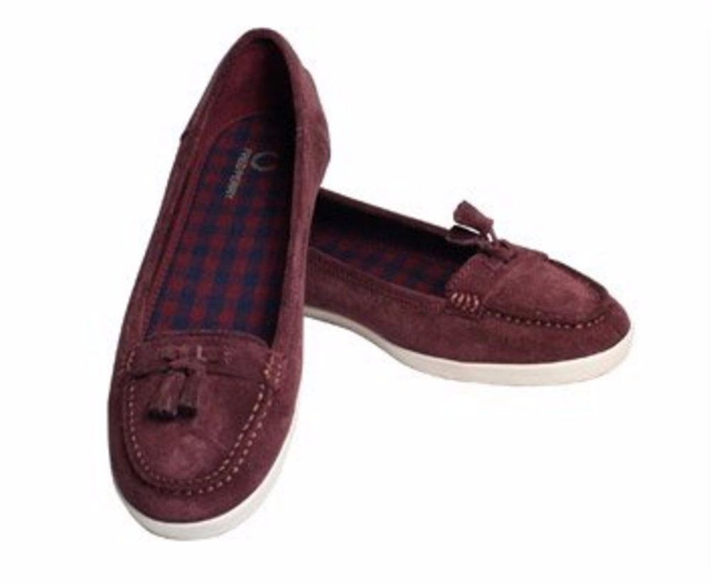 Fred Perry Betty Women's Suede Grey Flats Loafers Slip on Shoes Size 8