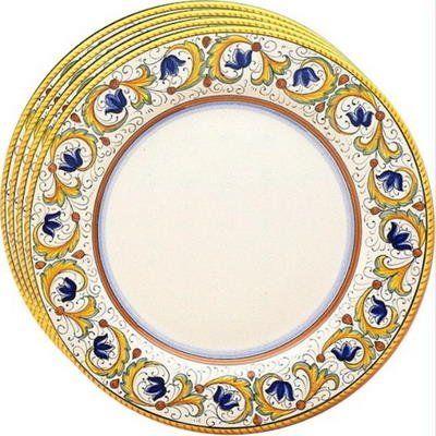 Deruta Perugino Italian Hand-Painted Charger Plate Set