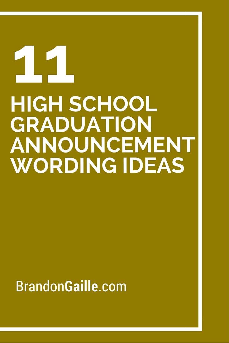 High School Graduation Announcement Wording Ideas
