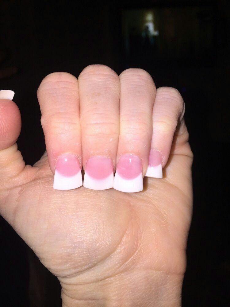 Pink And White Flared Acrylic Nails Nails Acrylic Nail Designs Nail Colors