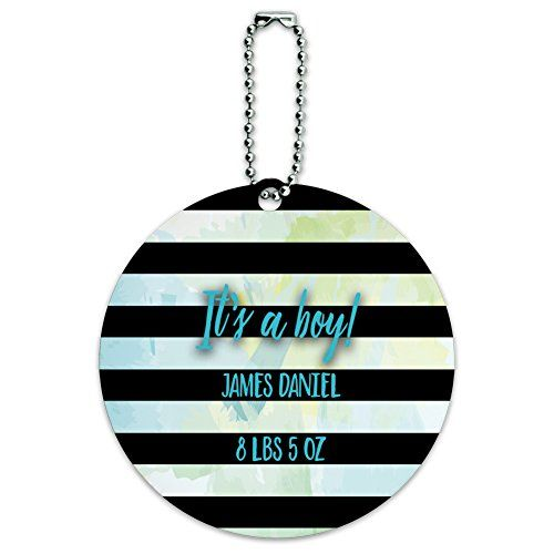 Graphics and More Personalized Custom Its a Boy Birth Announcement Baby Pastel Watercolor Black Stripes Round Luggage Suitcase CarryOn ID Tag Card *** Check out the image by visiting the link.Note:It is affiliate link to Amazon.