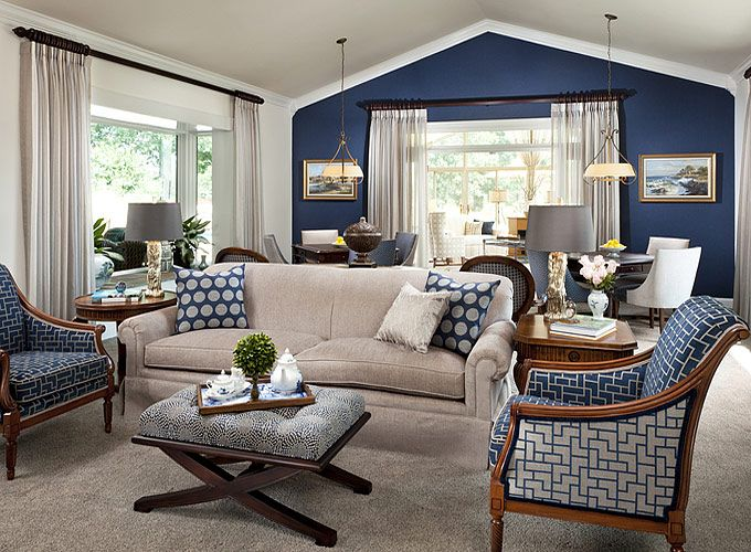 One Wall Navy Accent Wall Love This Whole Room Accent Walls In Living Room Blue Accent Wall Living Room Navy Living Rooms