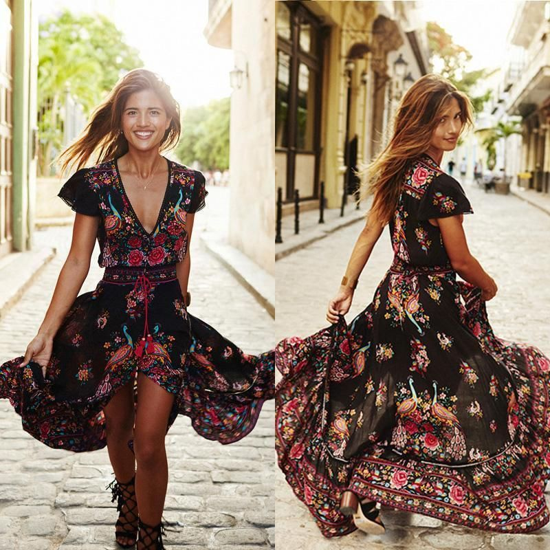 Fashion Summer Dress Women Flower Boho Long Maxi Dress 2019 Evening Party Beach Holiday Sleeveless Sling Dresses V-neck Sundress Women's Clothing
