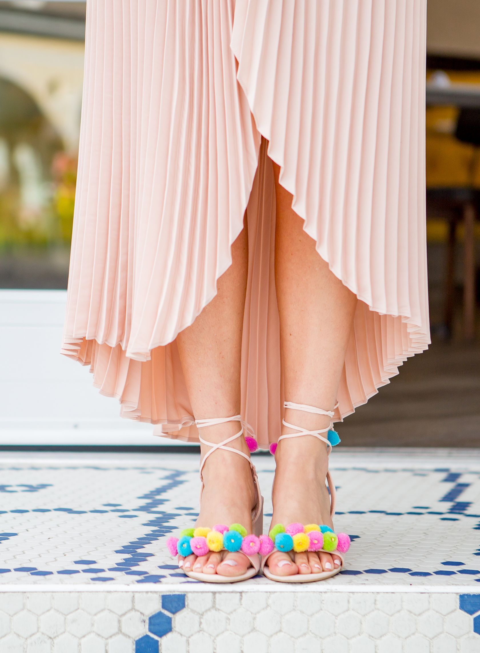 6b86a7bbe9bf Sydne Style shows how to wear the pom pom shoe trend in forever 21 lace up  sandals
