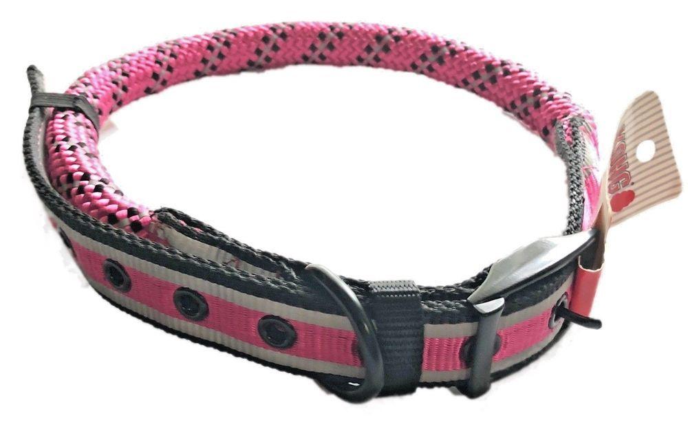 Dog Collar Kong Size Large Xl Walking Lead Safety Pink Black Rope