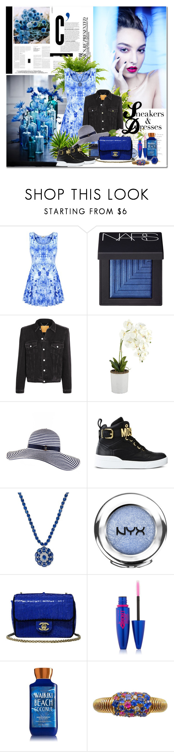 """""""MOODY BLUE Sneakers & Dresses"""" by k-hearts-a ❤ liked on Polyvore featuring Chloé, Chanel, NARS Cosmetics, Balenciaga, Black, Moschino, NYX, Maybelline and Anne Sisteron"""