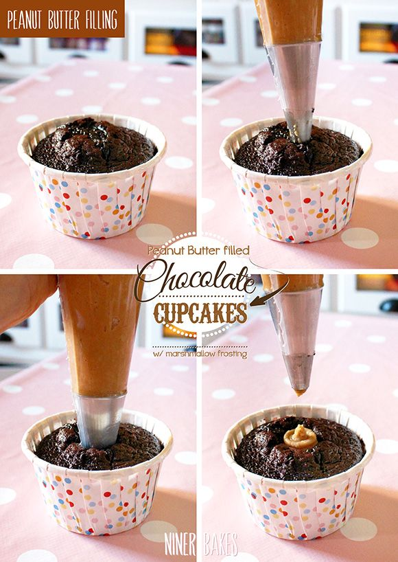 schokoladen cupcakes mit erdnussbutter f llung marshmallow frosting niner bakes cupcakes. Black Bedroom Furniture Sets. Home Design Ideas