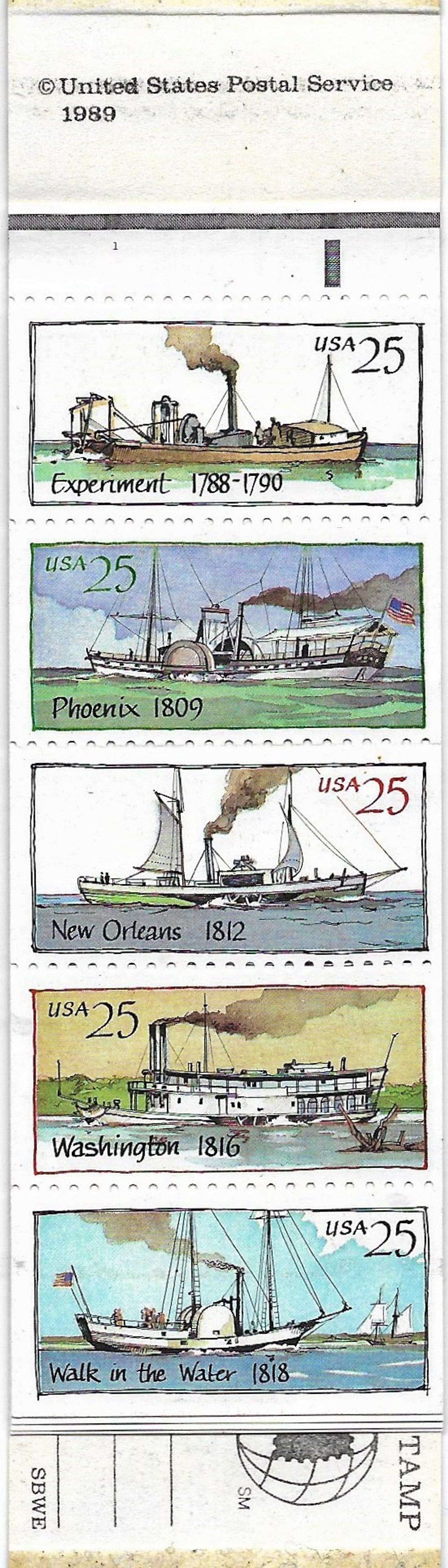 Vintage Postage Stamps 1989 Steamboats Booklet of twenty