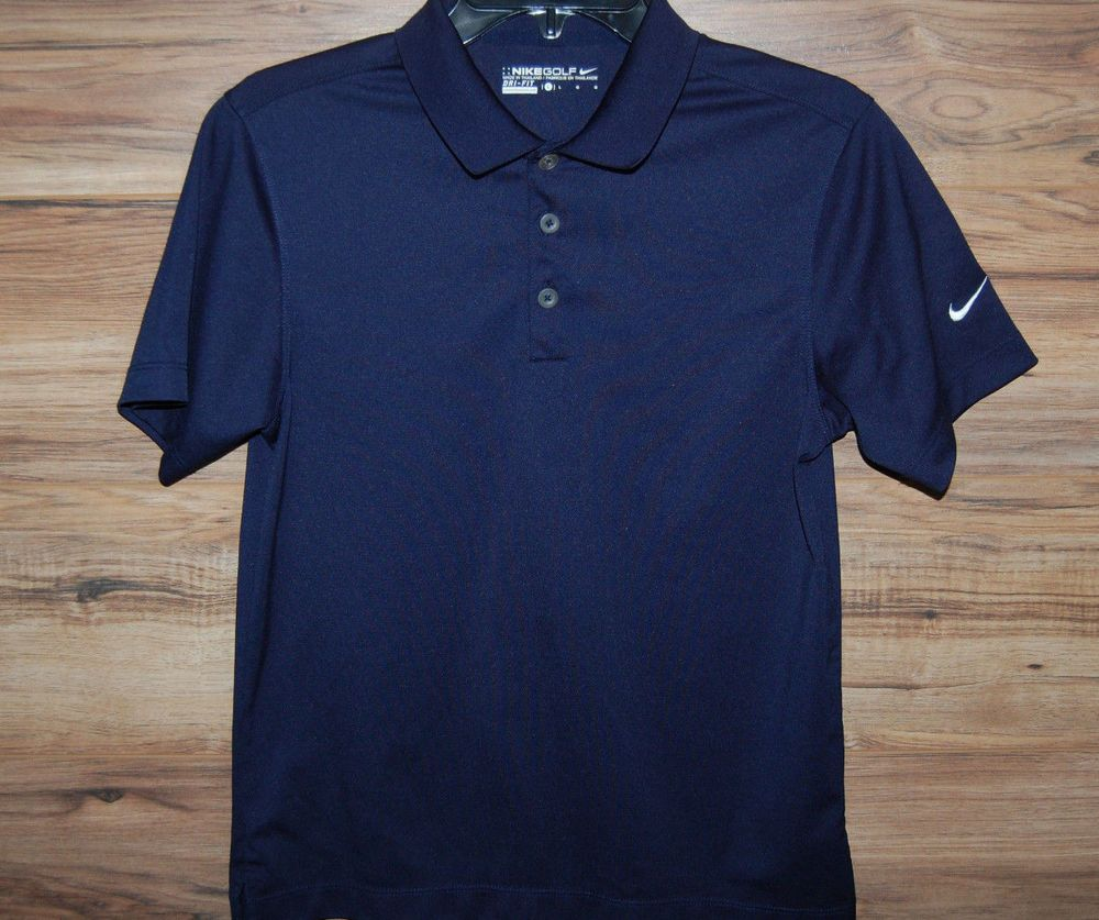 da37f58e42877 Nike Golf Boys Shirt Short Sleeve Dri-Fit Buttons Navy Blue Size ...