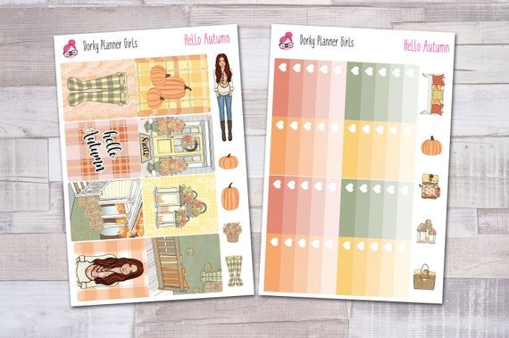 Hello Autumn Weekly Kit, Planner Stickers, Fall Weekly Kit #helloautumn