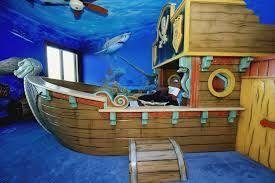 Get super creative with this design. Build upwards and include rope bridges, ladders and of course a pirate ship bed. You can even build a small jail that can be incorporated into a reading nook for them. The possibilities are truly endless with this design!