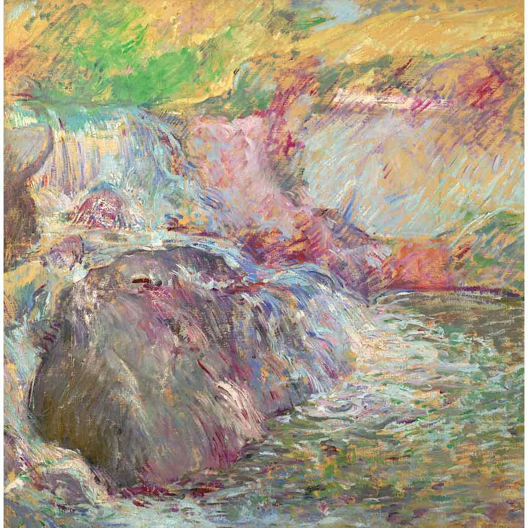 """""""Waterfall, Greenwich,"""" John Henry Twachtman, circa late 1890s, oil on canvas, 30 1/8 x 30"""", private collection."""
