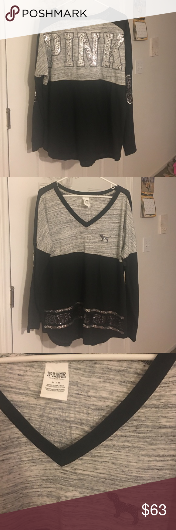 Victoria's Secret pink bling vneck crew Size medium. Like new condition! No flaws! Very cute and comfy. Willing to trade for other vs pink clothing. bundle to save(: PINK Victoria's Secret Sweaters Crew & Scoop Necks