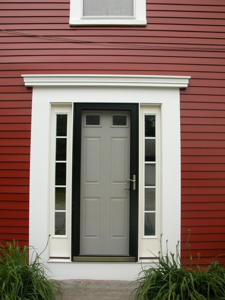 Black full glass storm door w white side window for Front door with storm door