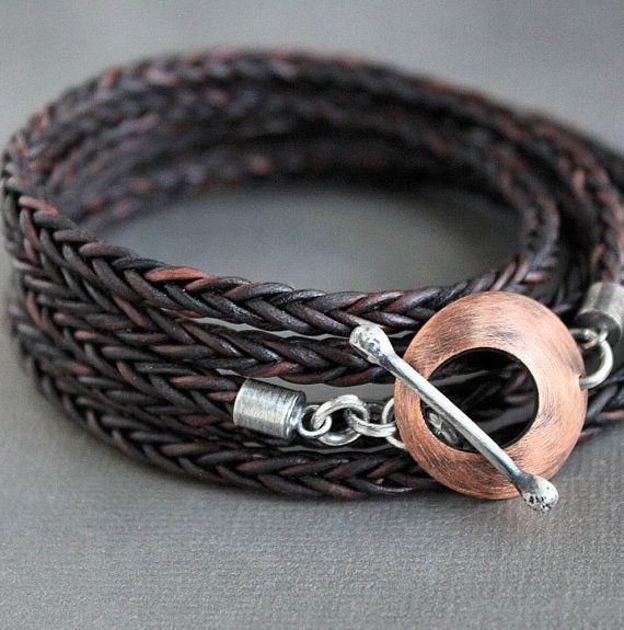 Leather Wrap Bracelet Copper Silver Clasp