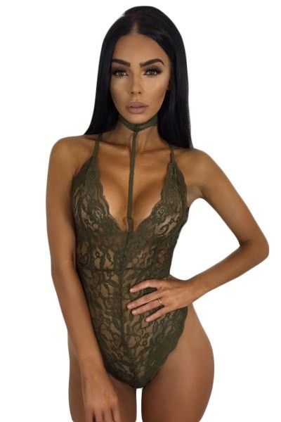b66fe1b39a Army Green Sheer Lace Choker Neck Teddy Lingerie in 2019 ...