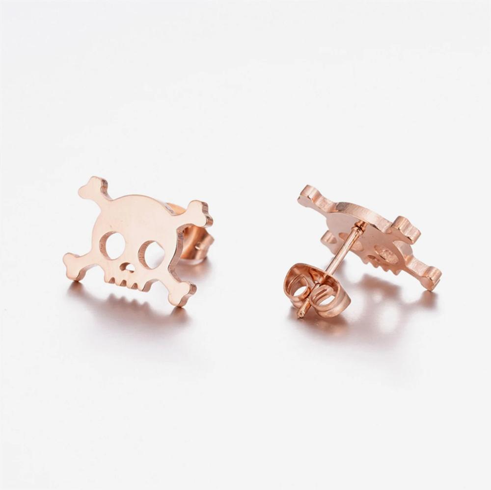 Rose Gold Skull Stud Earrings Mini Skull Earrings Women Stud   Etsy