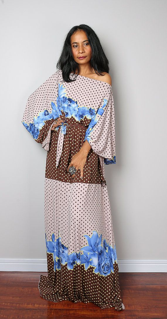 Boho Dress  Long Wide Sleeve Maxi Dress : Funky Elegant by Nuichan