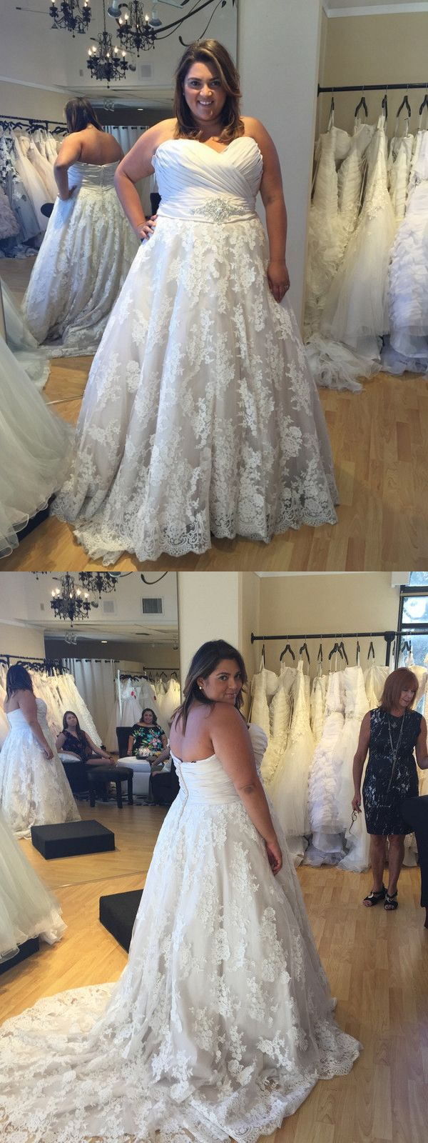 Gorgeous aline sweetheart lace lace plus size wedding dress