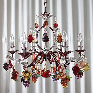 6 light murano glass fruit chandelier with painted red frame 6 light murano glass fruit chandelier with painted red frame aloadofball Choice Image