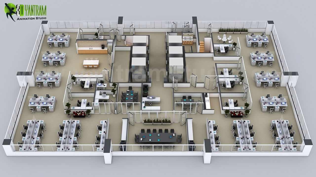 Details Of 3d Floor Plans Of The Sets For The Office By Yantram Floor Plan Design Companies Office Floor Plan Floor Plan Design Architectural Design Studio