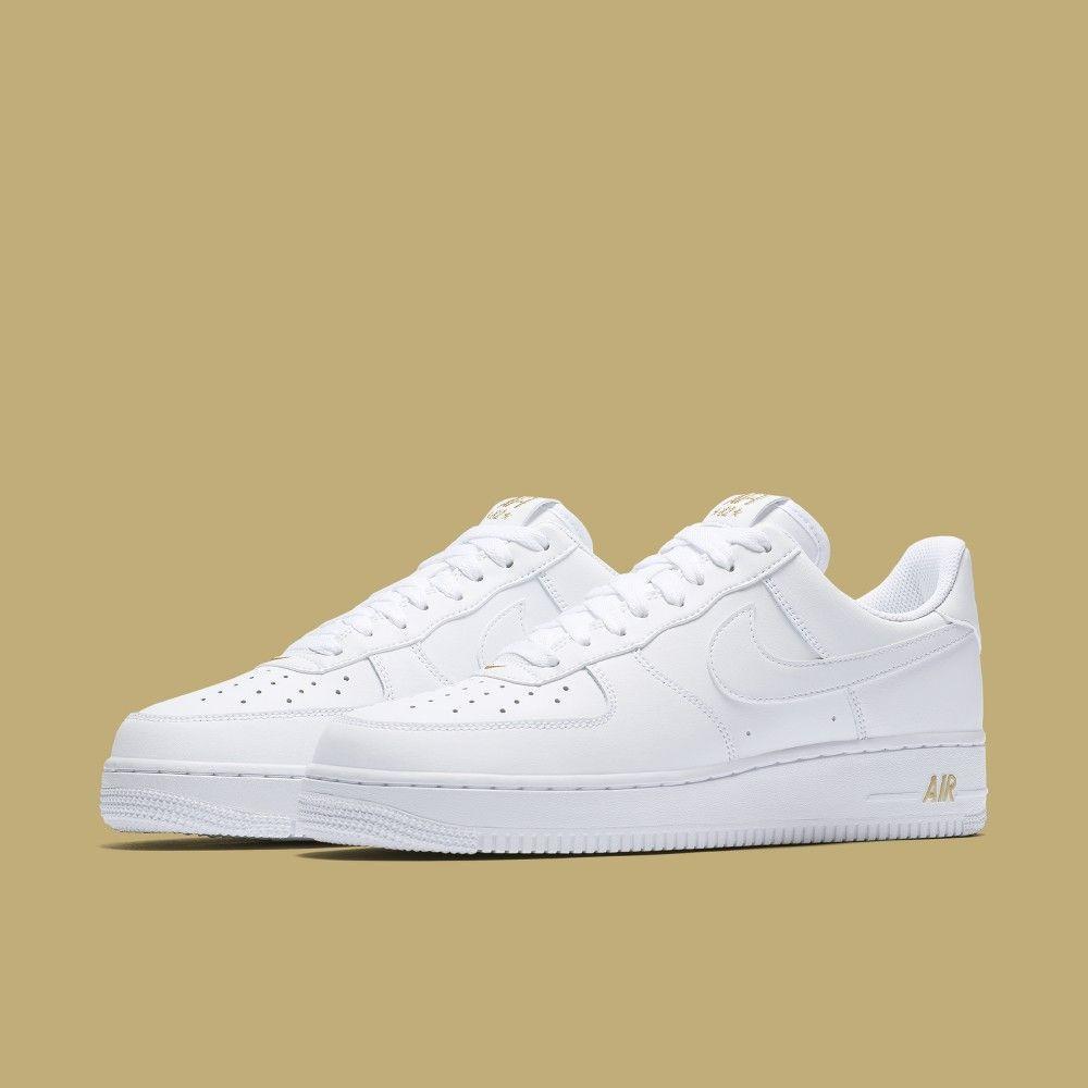 Schuhe Nike Air Force 1 Schönes Weiß Damen Gold