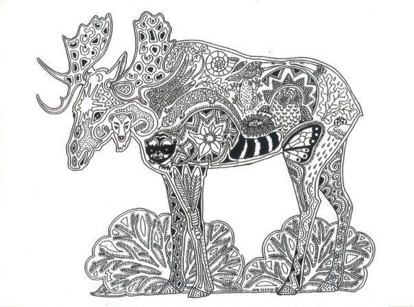 Moose Strength Self Esteem Maturity Animal Spirit Tangle Unique Coloring Page Unique Coloring Pages Animal Coloring Pages Coloring Pages
