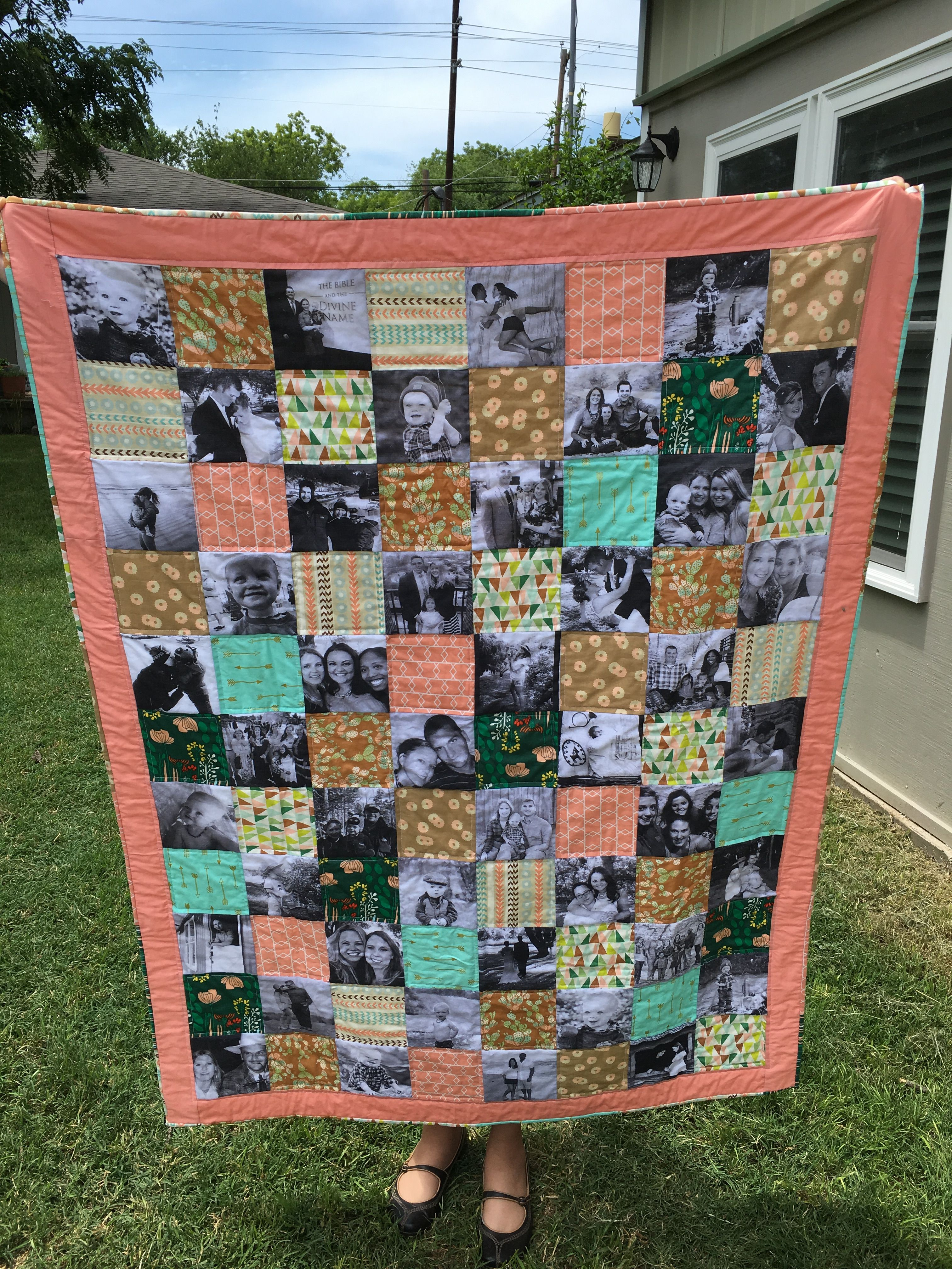 """Memory Quilt for 10yr Anniversary - transferred photos to fabric at local t-shirt print shop in black and white - fabric from Cabbage Rose Ft Worth - unbleached muslin back - 5.5"""" squares  #quilts #memories #memory #anniversary #phototransfertofabric #hobbies #quilting"""