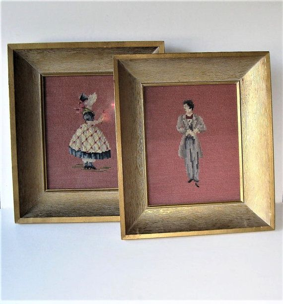 2 Framed Vintage Framed Needlepoint Figures 12 X 14 Shadowbox