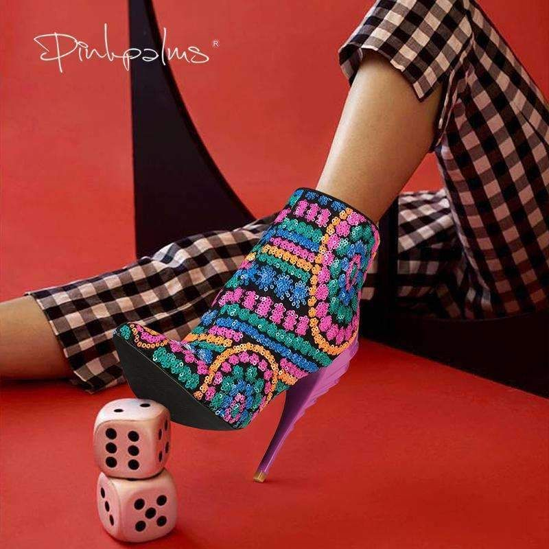 5d79d56a18c Pink Palms women sequined cloth fuchsia bling high heels pointed toe ...
