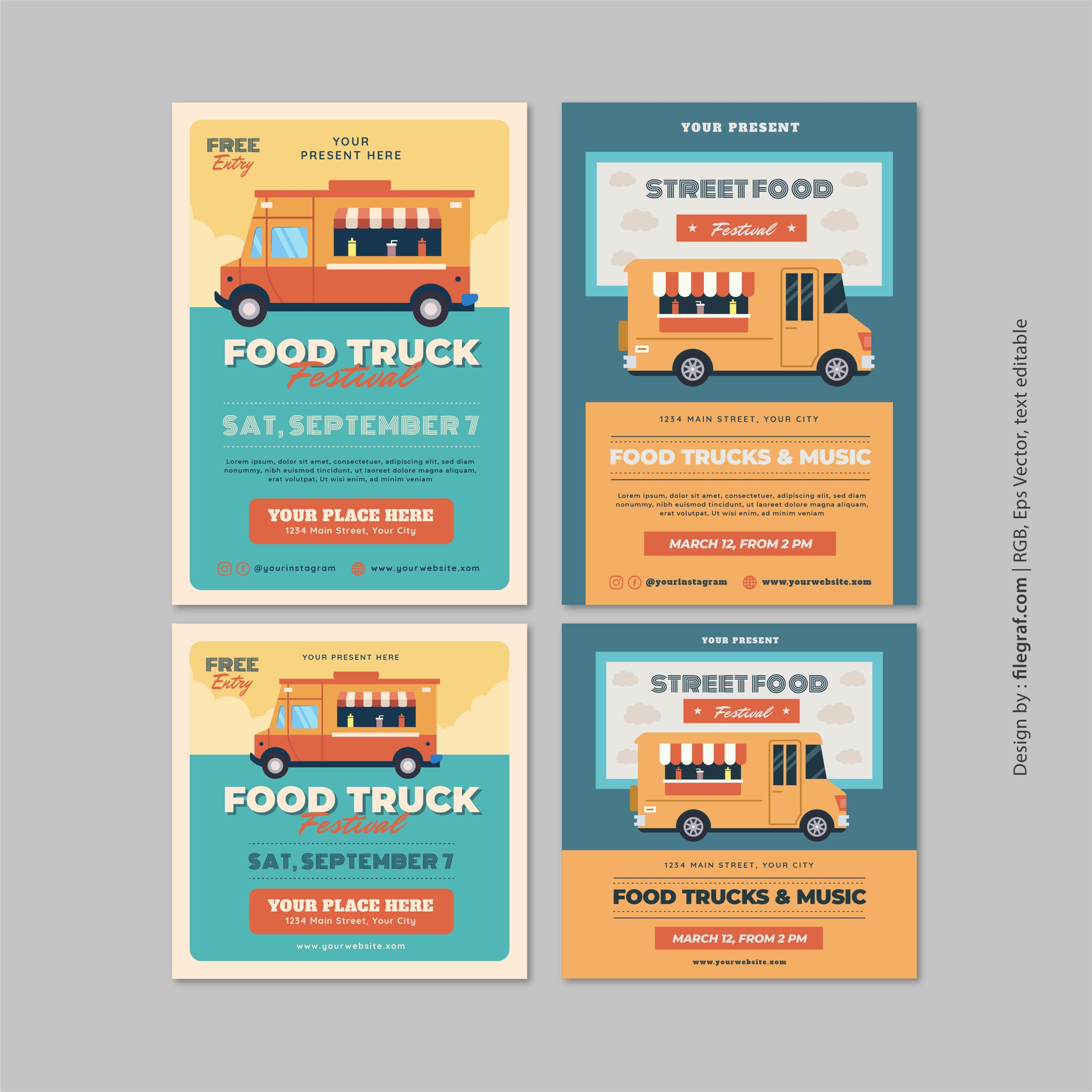 Food truck festival event flyer poster social media