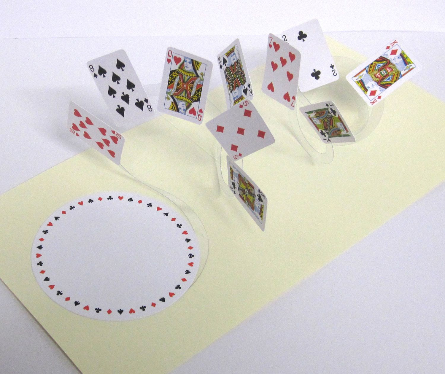 Birthday card spiral pop up playing cards 3d card