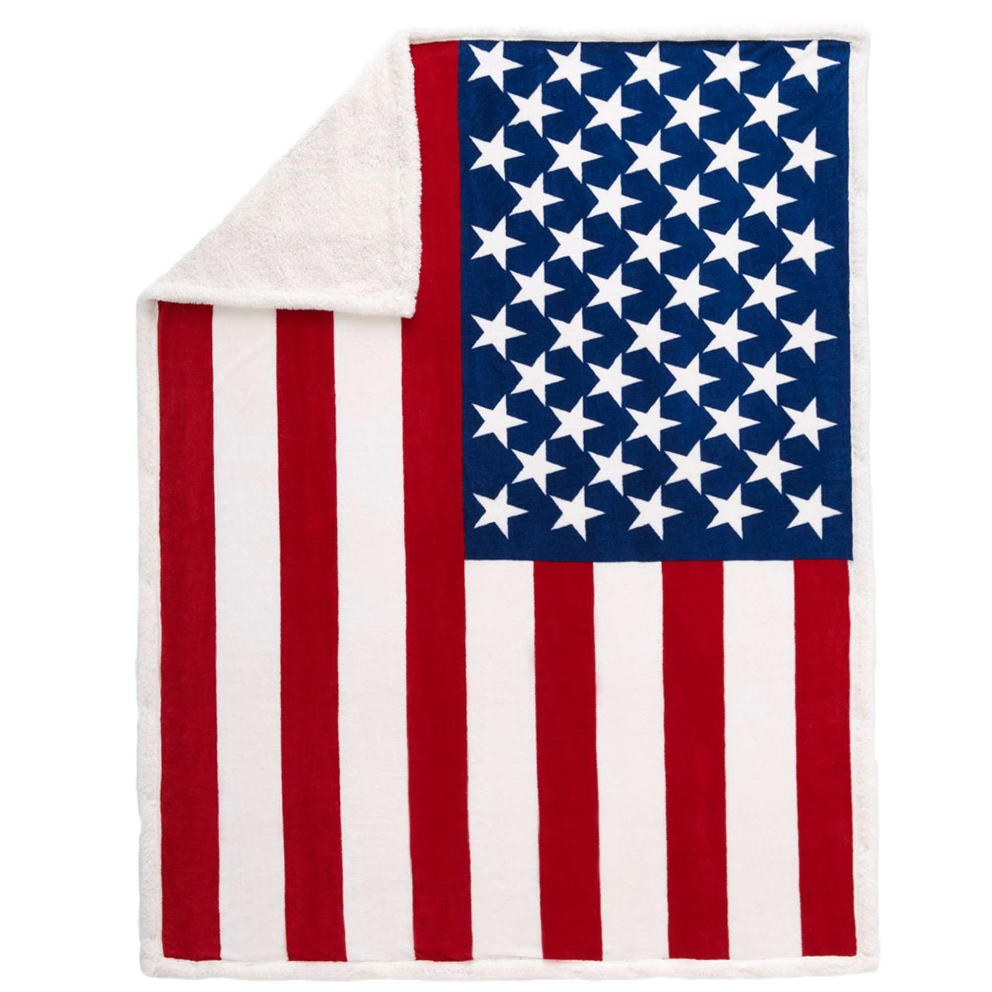 plaid sherpa imprim drapeau usa bleu blanc rouge linge de. Black Bedroom Furniture Sets. Home Design Ideas