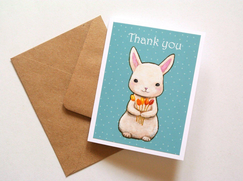 Bunny rabbit thank you card thank you card for teacher