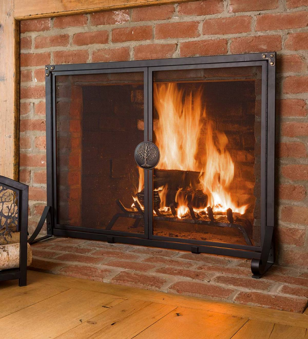 Greenwood Fire Screen With Doors Adds Artistic Functionality To Your Hearth Fireplace Screens Fireplace Candles In Fireplace