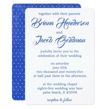 Simple Blue Wedding Invitation Modern Script - #weddinginvitations - wedding invitation design surabaya