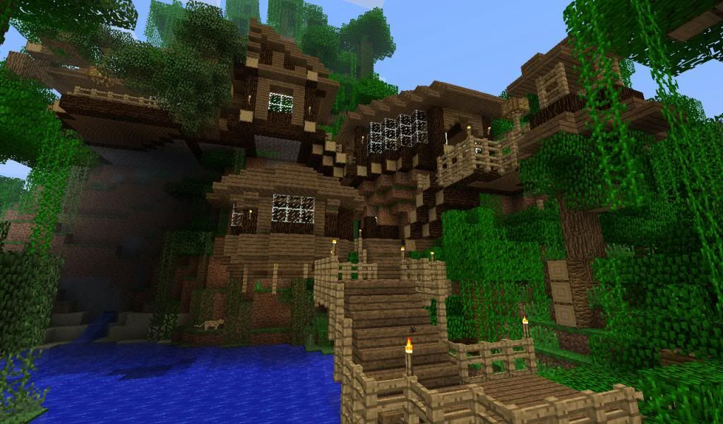 Cliff House In A Jungle Biome Creative Mode Minecraft