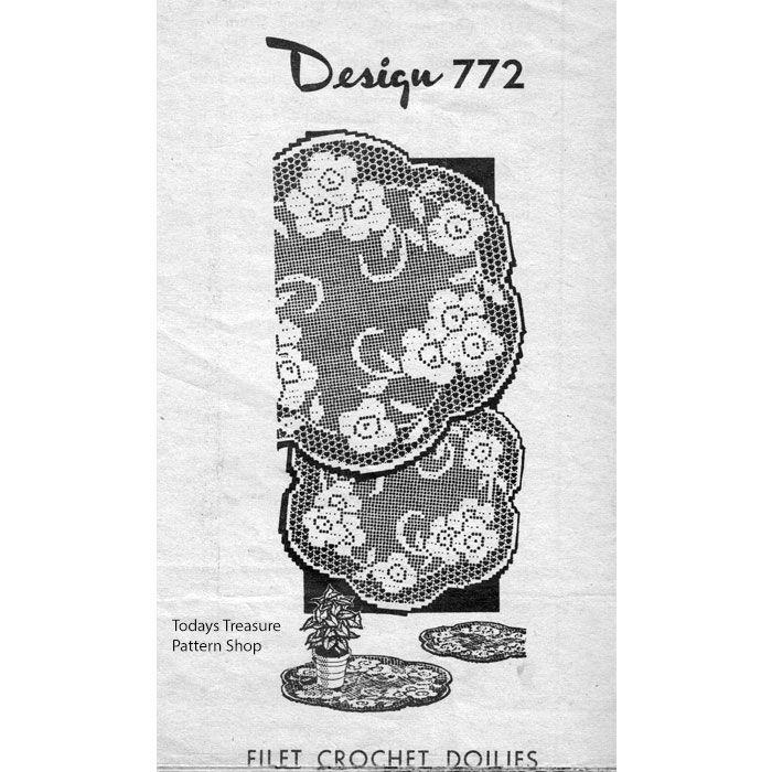 Rose Doilies Pattern in Filet Crochet Design 772   Vintage Doilies ...