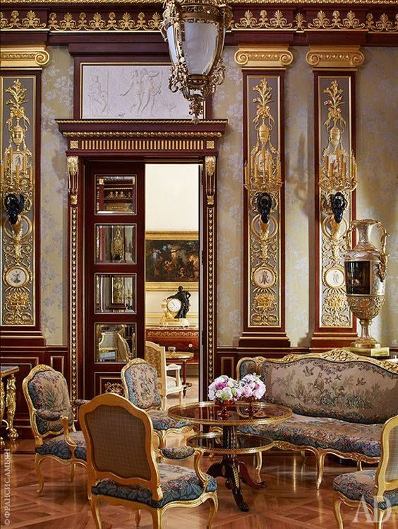 Neoclassic Sitting Room With Louis Xv Furnishings European Home