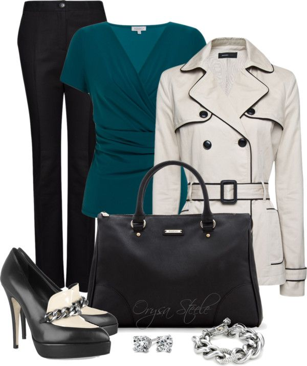 """""""Mango Piped Trench"""" by orysa on Polyvore"""
