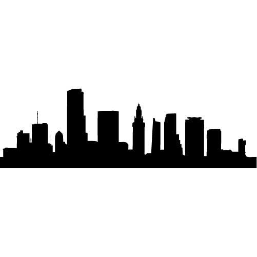 Miami Skyline Silhouette Xlarge Vinyl Wall Decal By