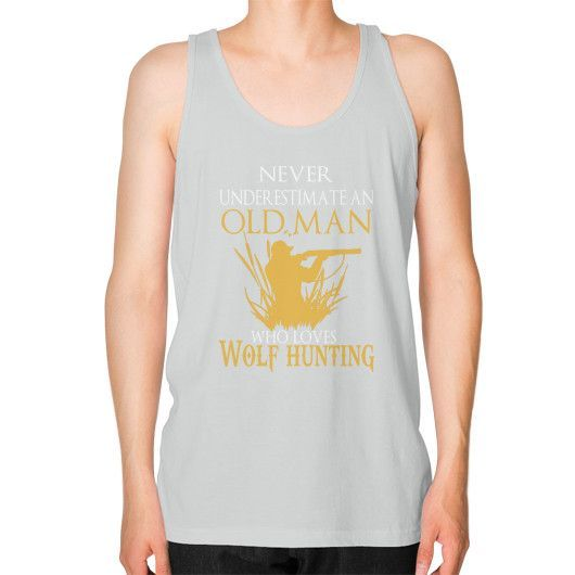 NEVER UNDERESTIMATE wolf hunting Unisex Fine Jersey Tank (on man)