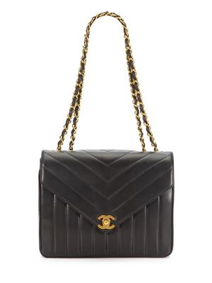 Chanel Vintage Black Chevron Quilted Lambskin Leather Envelope Flap Bag Vintage Chanel Bag Vintage Chanel Chanel Bag