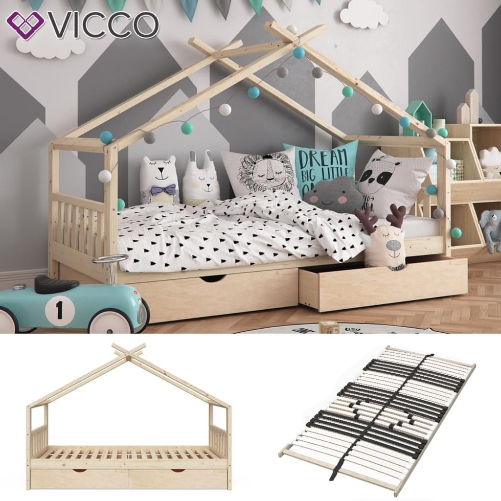 Vicco Kinderbett Design 90x200 Unbehandelt Hausbett
