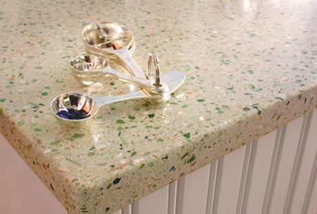 High Quality This Is White Concrete With Recycled Glass Chips Embedded In It Then  Polished After It Is